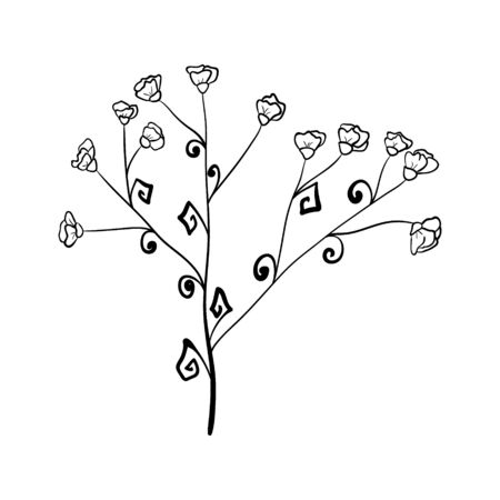 one stylized herb branch with flowers. isolated on a white background. Hand drawing sketch. Illusztráció