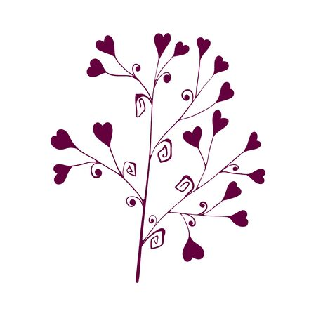 one branch with hearts for valentines day. isolated on a white background. Hand drawing sketch.