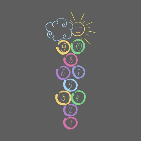 Hopscotch with sun and cloud.childrens game drawn with colored chalks.playground with numbers.isolated vector illustration.