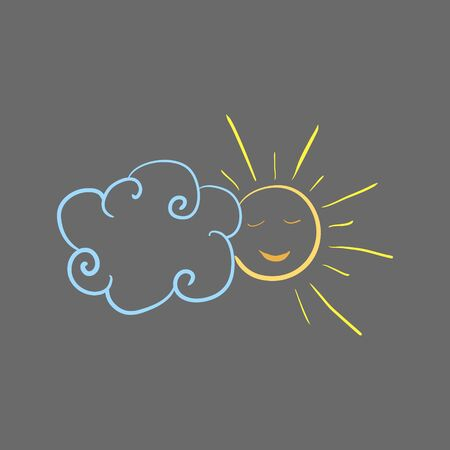 sun and cloud drawn with colored chalks on asphalt or blackboard. isolated vector illustration. hand drawn.