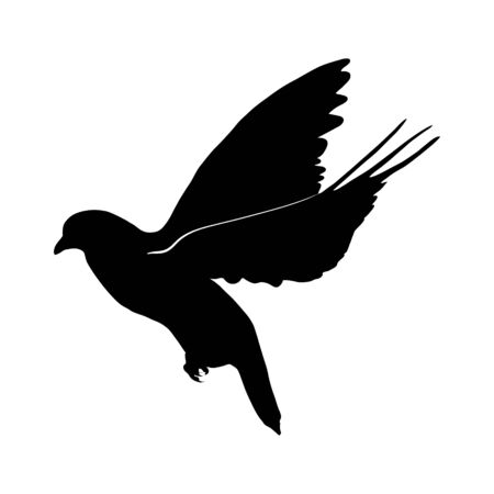 black silhouette of flying dove. symbol of peace. Isolated on white background. Hand drawn Ilustração Vetorial