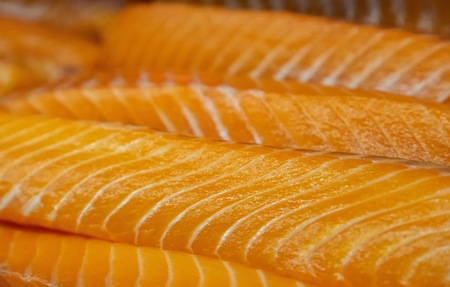 fresh salmon fillets with selective focus