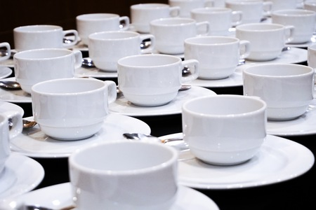 Empty coffee cups catering for coffee break