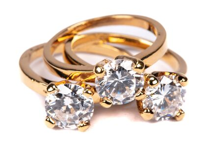 Close up of clear stone gold rings Archivio Fotografico