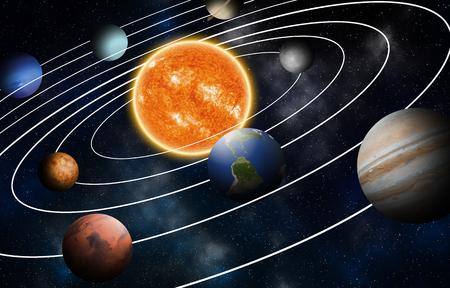 Modelo de sistema solar, elementos de esta imagen proporcionados por la NASA Foto de archivo