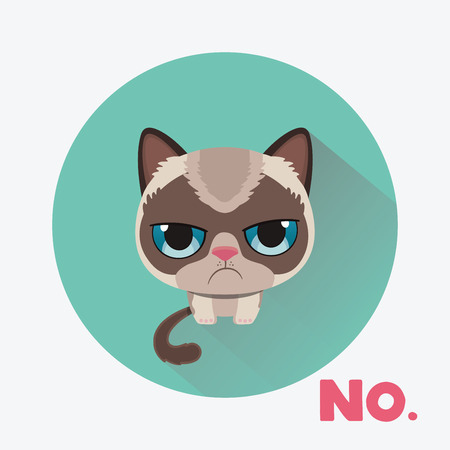 Cute sad grumpy cat in material design style. Vector Illustration.