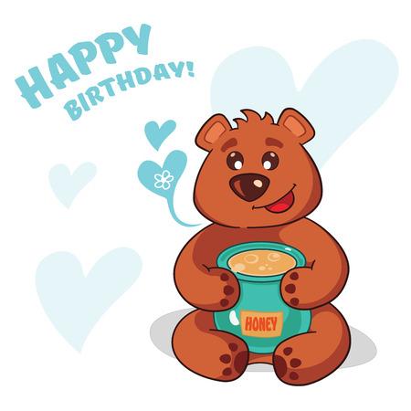 Cute teddy bear who wants to wish you a happy birthday.Warm obnimashki. Cute bear design for greeting card.