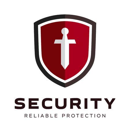 Logotipo de la compañía de seguridad listo para usar. Símbolo abstracto de securit. Logotipo de escudo. Icono de escudo