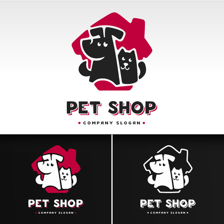 pet cat: Vector logo design template for pet shops, veterinary clinics and animal shelters homeless. Vector logo template with cat and dog.