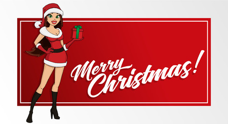 Sexy santa girl with a gift box. Greeting card template