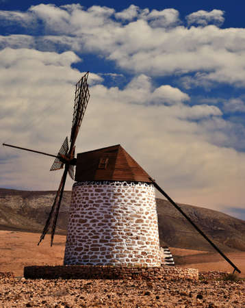 gristmill: Old wind mill of Fuerteventura, Canary islands