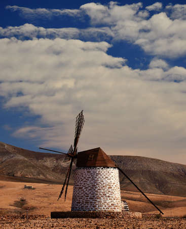 gristmill: Traditional wind mill of Fuerteventura, Canary islands