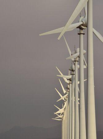 sustainably: Line of wind turbines Stock Photo