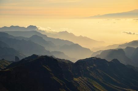 mountainous: Mountainous landscape at sundown, Gran Canaria