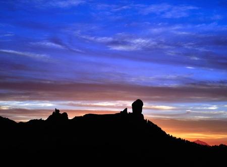 natural phenomena: Awesome sky at nightfall, Roque Nublo, Gran canaria