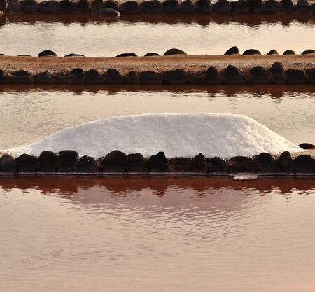 obtained: Mound of  salt obtained in coastal saline Stock Photo