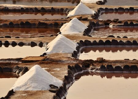 mounds: Mounds of sea salt in traditional saline Gran canaria Stock Photo