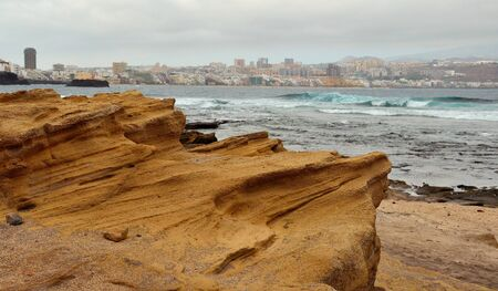 las palmas: Sandstone rock, the confital beach, Las Palmas of Gran canaria Stock Photo
