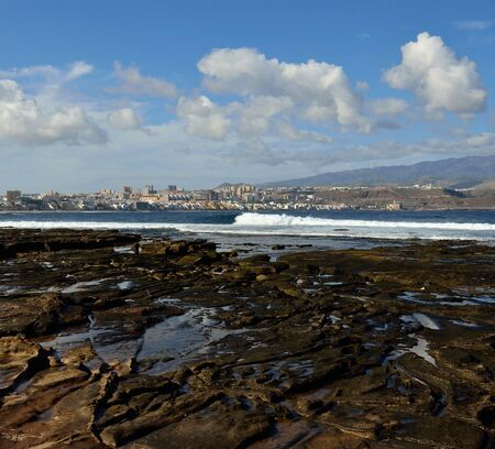 las palmas: The Confital beach and Las Palmas city, Gran canaria, Canary islands Stock Photo