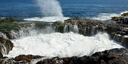 Natural pool with water in full effervescence at high tide, Bufadero La garita, coast of Gran canaria, Canary islands