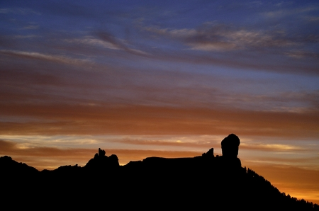 Colorful sky at sunset, Roque Nublo, Gran canaria, Canary islands
