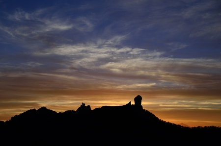 gloaming: Colorful sky at sunset, Roque Nublo, Gran canaria, Canary islands
