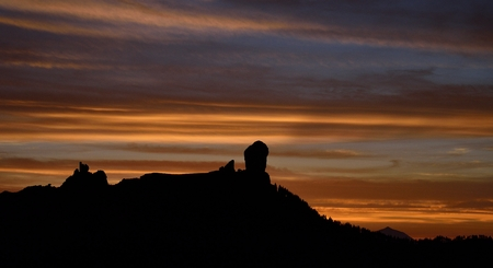 Beautiful sky at sunset and Roque Nublo, Gran canaria, Canary islands