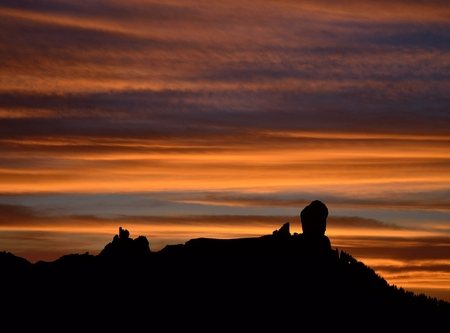 gloaming: Beautiful sky at sunset and Roque Nublo, Gran canaria, Canary islands
