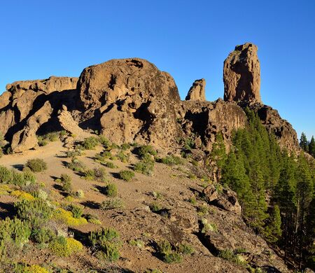 sidelight: Natural park of Gran canaria, Roque Nublo with intense blue sky, Canary islands
