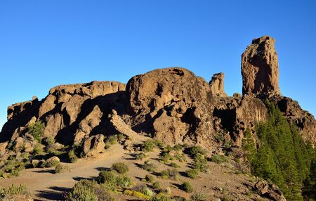 Roque Nublo and blue sky intense, natural reserve of Gran canaria, Canary islands