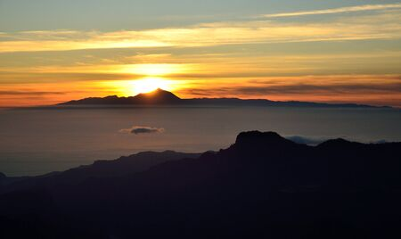 mountainous: Sunset, mountains of Gran canaria and the Tenerife island, Canary islands