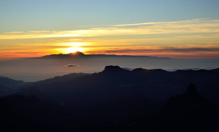 climatic: Sunset, summit of Gran canaria and Tenerife island, Canary islands