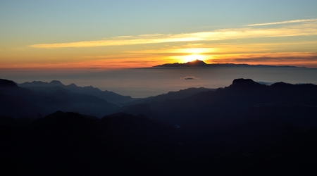 climatic: Sunset, Gran canaria in foreground and Tenerife in background, Canary islands Stock Photo
