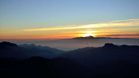 climatic: Sunset from Gran canaria island and Tenerife in background, Canary islands
