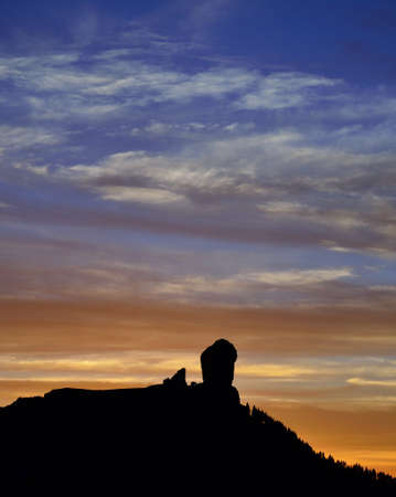 gloaming: Sky of colors at sunset, Roque Nublo, Canary islands