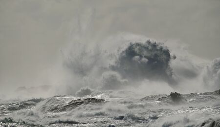 Rough sea and big wave when breaking against the rocks, coast of Gran Canaria