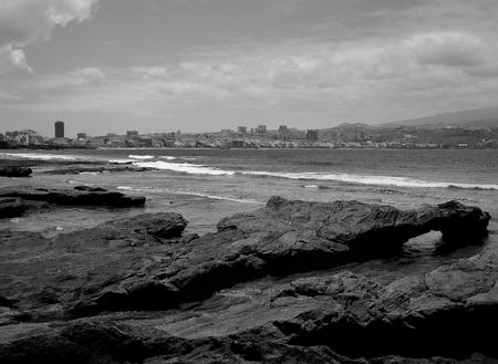 Coast of Las Palmas de Gran Canaria, El Confital, black and white, Canary Islands 스톡 콘텐츠