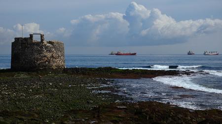 Castle of San Cristobal and ships in the bay, coast of Las Palmas de Gran Canaria