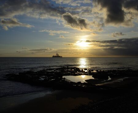 Beautiful sunrise from the coast, Natural pool of La Laja, Las Palmas de Gran Canaria, Canary Islands, Spain