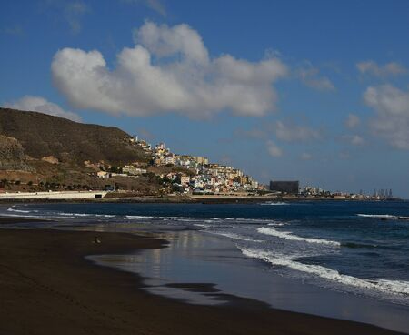 La Laja beach and Las Palmas city, coast of Gran Canaria, Canary Islands, Spain