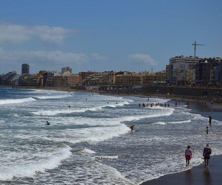 Las Canteras beach, city and blue sky, Las Palmas de Gran Canaria, Spain