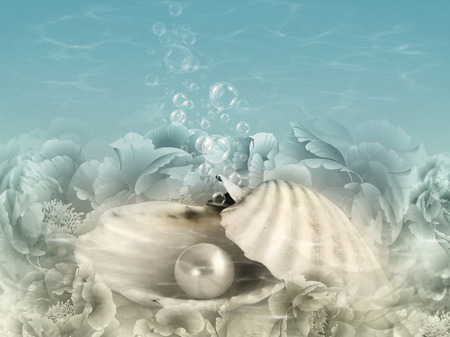 Abstract illustration background with shell, pearl, water and bubbles