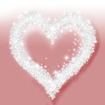 crystal heart: Background with crystal heart on pink