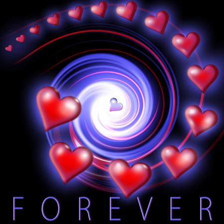 universal love: fondo borroso ilustrado abstracto con el neón púrpura resplandor corazones rojos girando fuera de un vórtice con el mensaje para siempre Foto de archivo