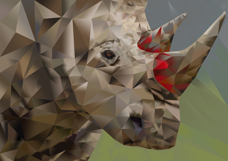 plight: Conceptualized polygon art illustration of endangered white rhino depicting the plight of the poached creature due to its horns being used as medicine by humans