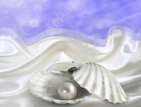 illustrated: Abstract illustrated background with single pearl in oyster shell on white satin and blue bokeh sky Stock Photo