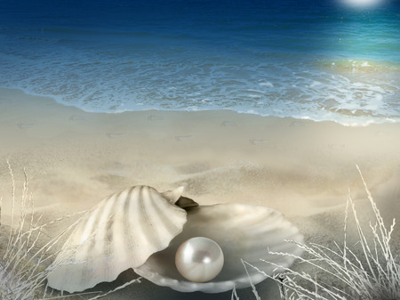 Abstract illustration photo composite background with shell, pearl, beach, footprints, seawater and moonlight