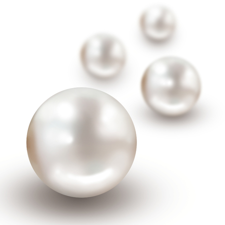 depth: Illustration pearl background with four pearls and narrow depth of field isolated on white
