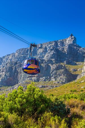 arial views: Cable way up to Table Mountain, Cape Town, South Africa