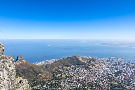 robben island: View of Cape Town and Robben Island from Table Mountain